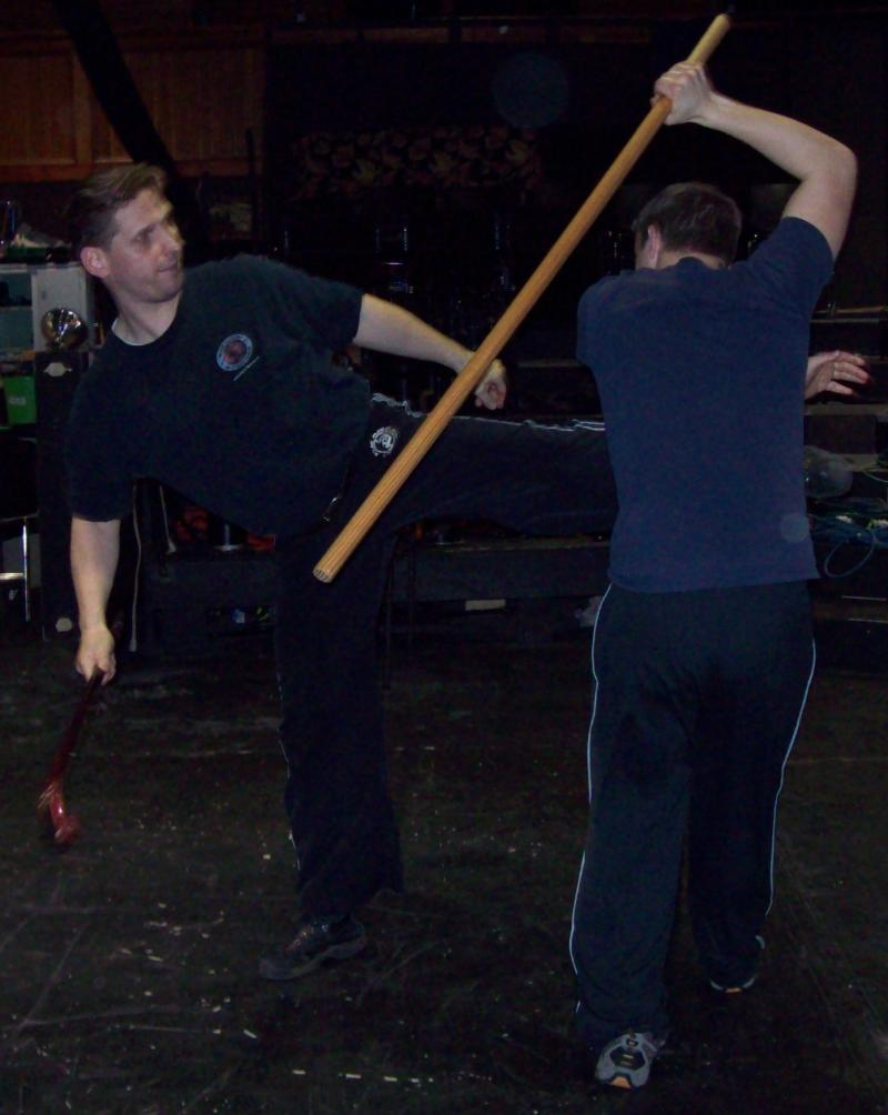 Mark demonstrating a move for Heartwood Theatre's ROMEO & JULIET